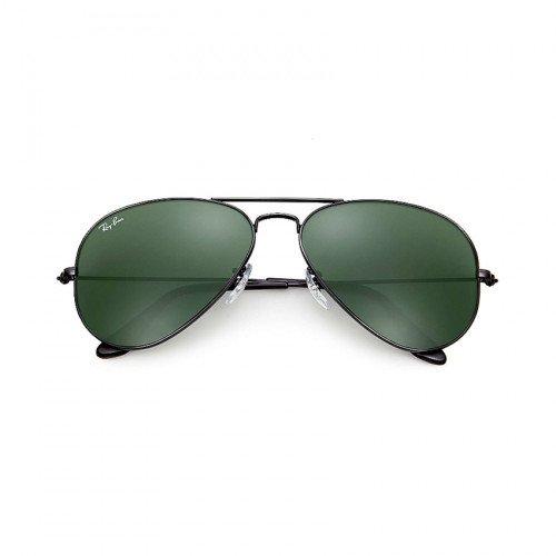 Polished Black/Green Ray-Ban RB3025 Aviator Classic L2823
