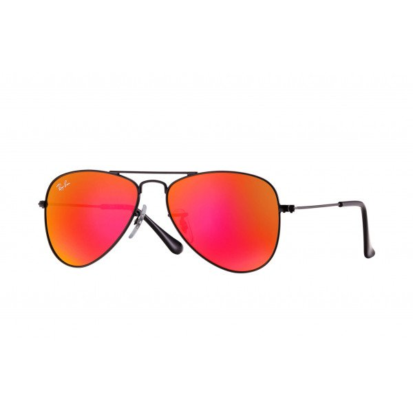 Black/Red Mirror Ray-Ban RJ9506S Aviator Junior 201/6Q